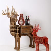 1 Set North European Style Creative Wood Deer Drawer Desk Wood Drawer Furniture Animal Table TM002M