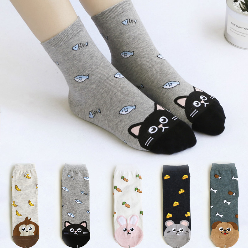 COCOTEKK Newly Design Cute Cotton Jacquard Fruit   Socks   Women Lovely Animal Cat Footprint Dog   Sock   Winter Female Crew Women   Socks