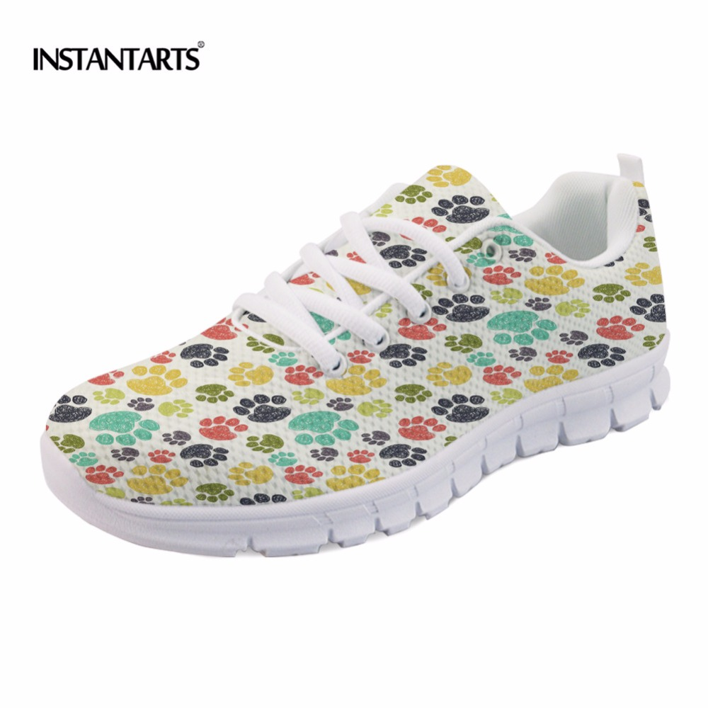 INSTANTARTS 2018 Fashion Sneakers Women Flat Heel Colorful Cats Paws Casual Shoes Soft Women's Sneakers Ladies Air Mesh Flats instantarts cute poodle dog pattern sneakers women s casual flats air mesh walking shoes ladies student outside shoes zapatos