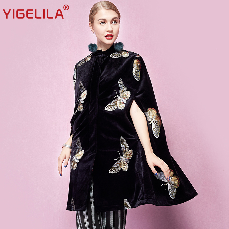 b4e1a8665 YIGELILA Latest Autumn Women Vintage Black Velvet Butterfly Embroidery O  neck Single Breasted Cape Coat Poncho Cloak 93740-in Wool & Blends from  Women's ...