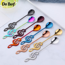 1 PCS Stainless Steel Spoon Coffee Note Shape Music Theme Tea Stirring Spoon Small Ice Cream Dessert Scoop Creative Flatware