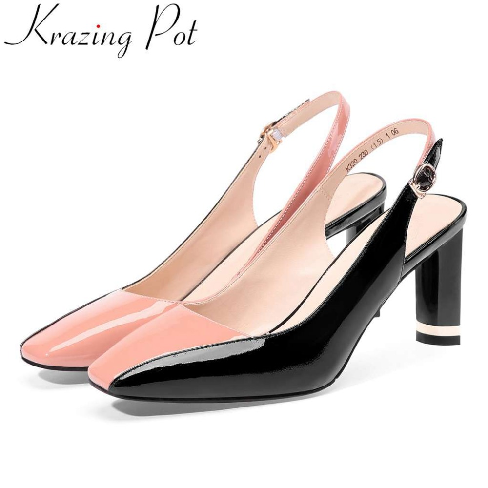 Krazing Pot mixed colors genuine leather slingback high heels summer brand sandals pretty girls high fashion