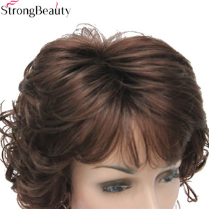 Image 5 - Strong Beauty Synthetic Wigs Womens Curly Ends Short Fiber Wig With Layered Bangs 17 Colors