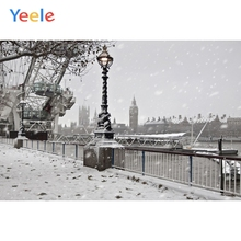 Yeele Winter Landscape Clock Tower Snow Room Decor Photography Backdrops Personalized Photographic Backgrounds For Photo Studio