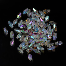 ZHUBI Hot Sale AB Clear Color Crystal Beads 3x6mm 4x8mm 6x12mm Long Bicone Glass Beads Craft for DIY Bracelet Necklace Jewelry