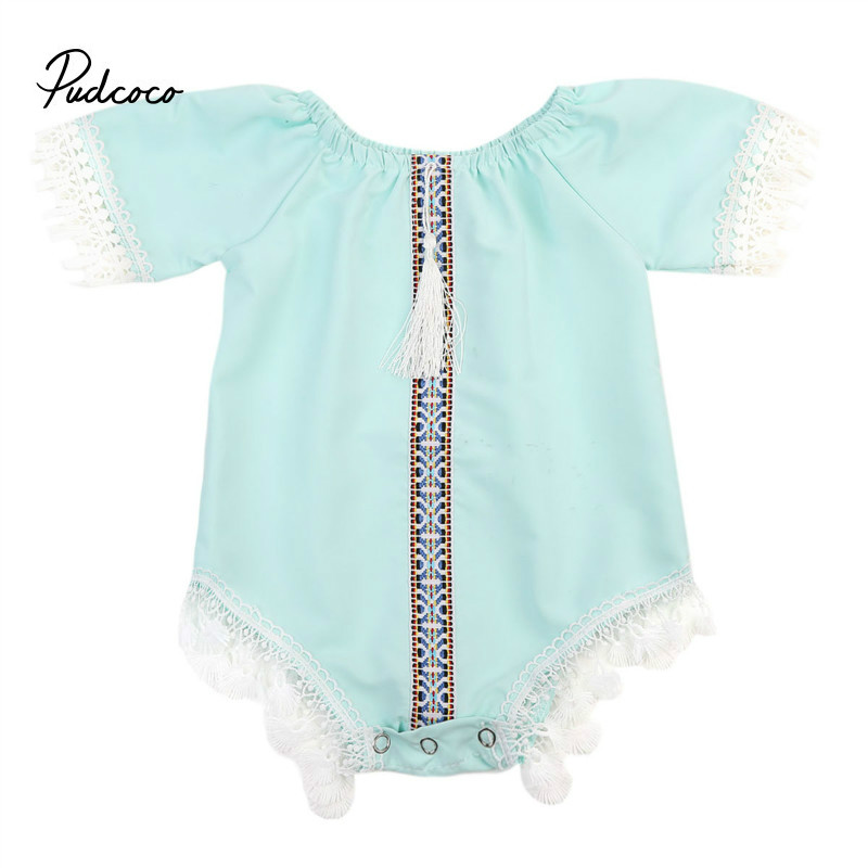 Pudcoco Toddler Newborn Infant Baby Girl Lace Jumpsuit Light Green Bodysuit Outfits Clothes