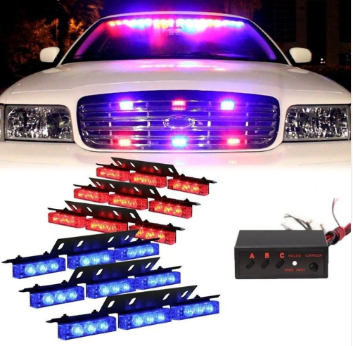 1 set Red Blue 54 LED 6X 9LED Emergency Warning Car Vehicle Police Dash Grill Strobe Light Bar