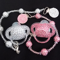 Baby Girl Child Convertible Crystal Pacifier Clip 078 Bracelet Necklace Flower Bling Rhinestone Diamond Bead Pacifier