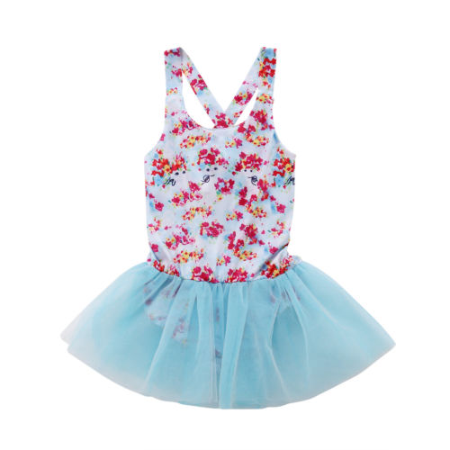Toddler Kids Baby Girl Lace Tutu Floral Romper Jumpsuit Clothing Girls Princess Summer Swimsuit Bathing Suit Rompers Sunsuit