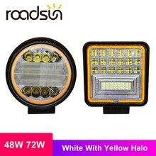Roadsun 48W 72W listwa LED białe światło z żółtym Halo światła robocze Led do ciągników terenowych DRL samochód SUV ciężarówki lampa przeciwmgielna 12V 24V
