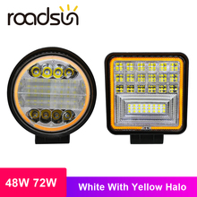 roadsun 48W 72W LED Bar White Light with Yellow Halo Led Work Lights for Tractors Off-road DRL Car SUV Trucks Fog Lamp 12V 24V 4 round rgb led fog lights drl angel eye halo ring bluetooth phone auto drl car light lamp for jeep wrangler off road suv