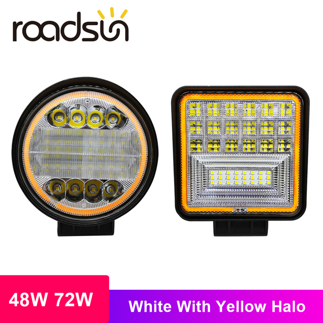 roadsun 48W 72W LED Bar White Light with Yellow Halo Led Work Lights for Tractors Off-road DRL Car SUV Trucks Fog Lamp 12V 24V