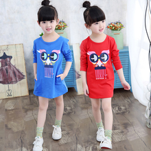 New Arrival fashion girl long shirts dress child spring and autumn long-sleeve cartoon t-shirt girl top
