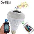 Lâmpada Música LED RGB + Branco Sem Fio Bluetooth Speaker E27 100-240 V 12 W Controle Remoto Doce Lar Leitor de música