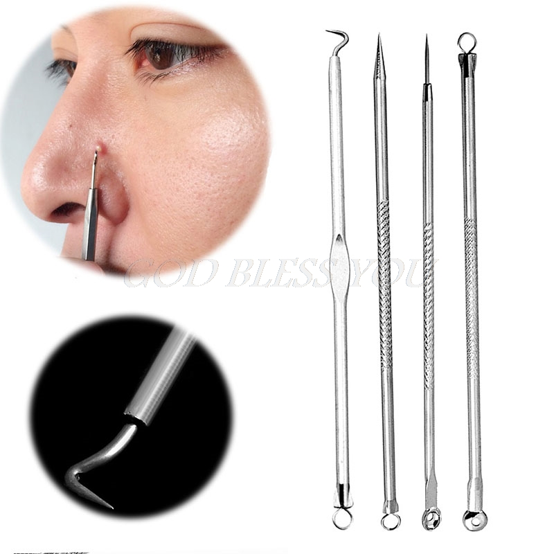 High Quality 4Pcs Acne Blemish Pimple Extractor Tool Blackhead Comedone Remover