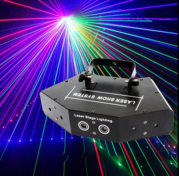 RGB 6 Laser Image Lines Beam Scans DMX DJ Bar Coffee Xmas Home Party Disco Effect Lighting Light Laser Light Show