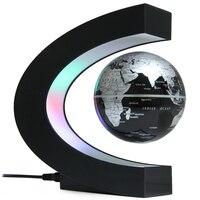 New Creative LED Lamp C Shape Levitation Floating Globe World Map Colorful LED Lights For Desk