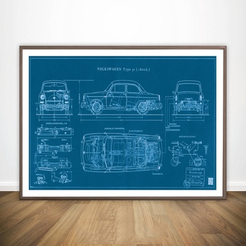 Car Blueprint Creator Best of Type Notchback Blueprint VW Movie Wall Art Paint Canvas Art Poster Oil Paintings No Frame image