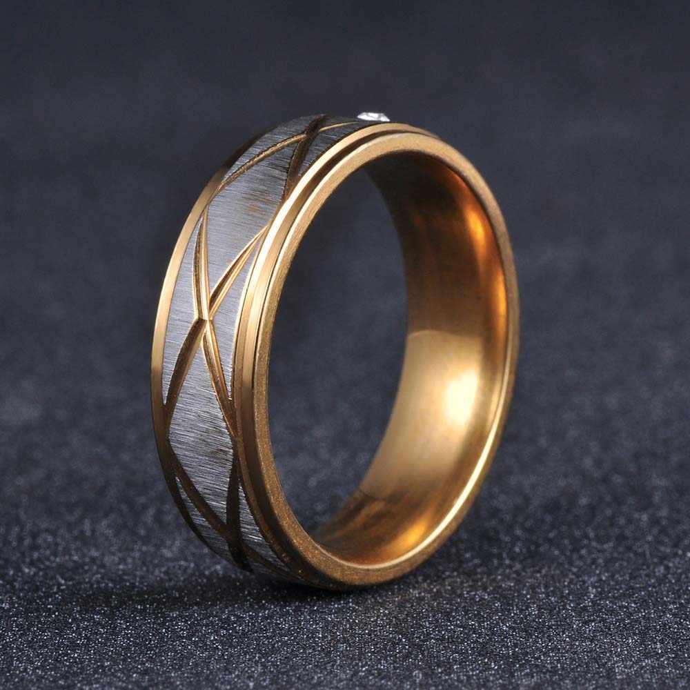 JeeMango Золото Цвет Простой один кубический циркониевые кольца ювелирные изделия 316L модная нержавеющая сталь обручальное мужское кольцо R17145