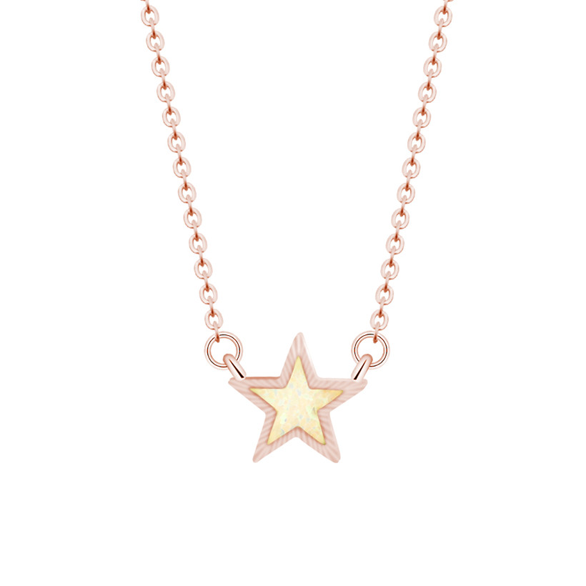 simple opal pendant necklace women fashion jewelery rose