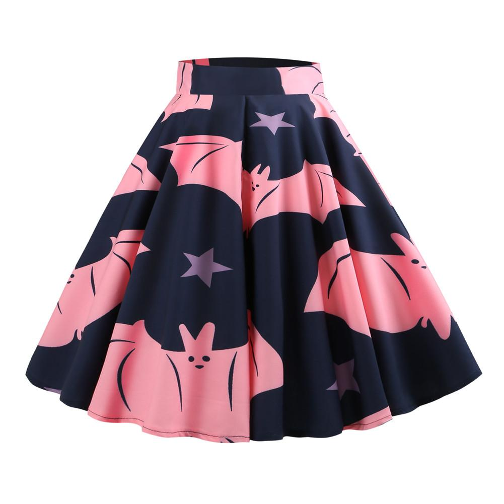 2018 Autumn New Vintage Elegant Style Ladies Retro Halloween Pink Bat Print High Waist Midi Skirt Femme Vestidos Party Outwear