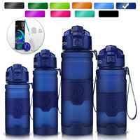 ZORRI azul oscuro botella de agua de deportes mejor reutilizable proteína libre de Bpa botella de agua senderismo ciclismo gimnasio botella de agua