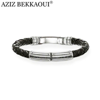 AZIZ BEKKAOUI Leather Rope Bracelet With Cross Charms Men Bangle Crystal Cross Charm Bracelets Handmade Cool