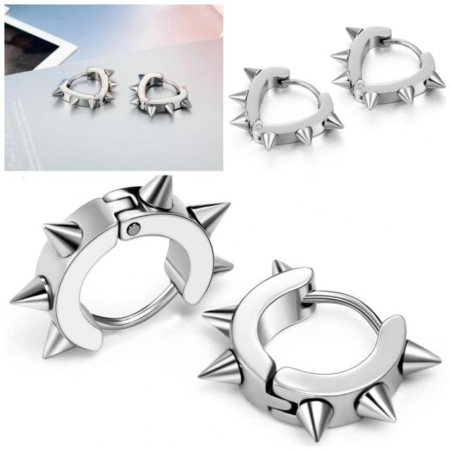 0756c4e82 Mens Silver Stainless Steel Spike Circle Heart Huggie Hoop Earrings Punk  Cool earrings for men boys Gifts pendientes aros plata