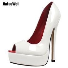 18 cm Sexy pearl grey fetish platform peeptoe pumps high heels Womens Clubwear Shoes Platform High Heels Pumps
