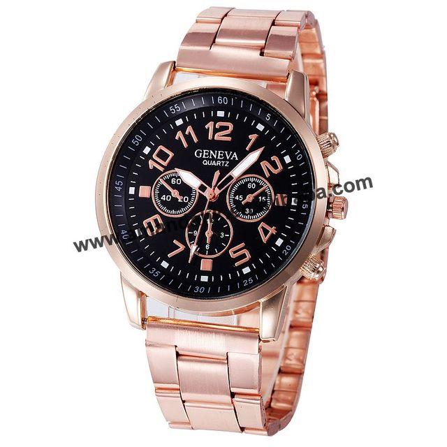 7eac7da695b Genebra Assistir Mulheres Algarismos Romanos Quartzo relógio de Ouro de Aço  Inoxidável Relógio de Luxo Casual
