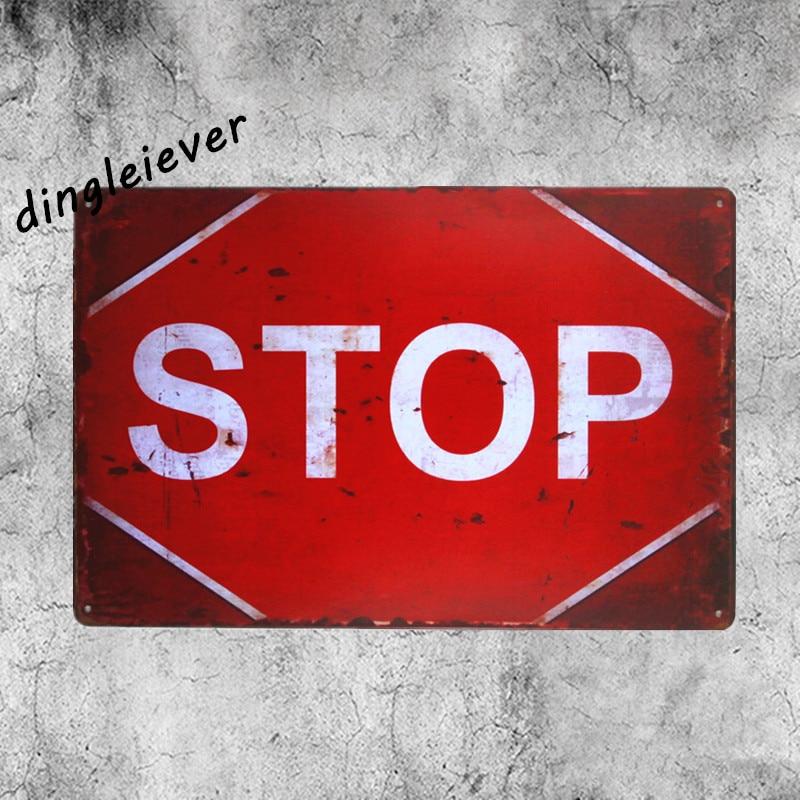 Остановить предупреждающий знак магазин Индикатор Парковка металлический знак Дом правила стены искусства