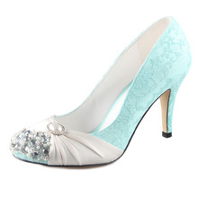 Handmade mint green lace shoes with ivory pearls rhinestone crystal woman shoes vintage bridal wedding party evening dress pumps