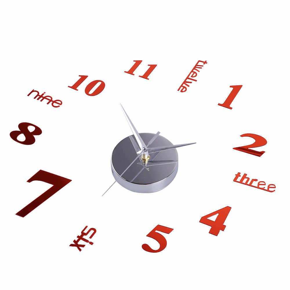 Акриловые современные DIY настенные часы 3D зеркальная поверхность наклейка домашний офисный Декор-фиолетовый reloj pared винтажные часы masa saati