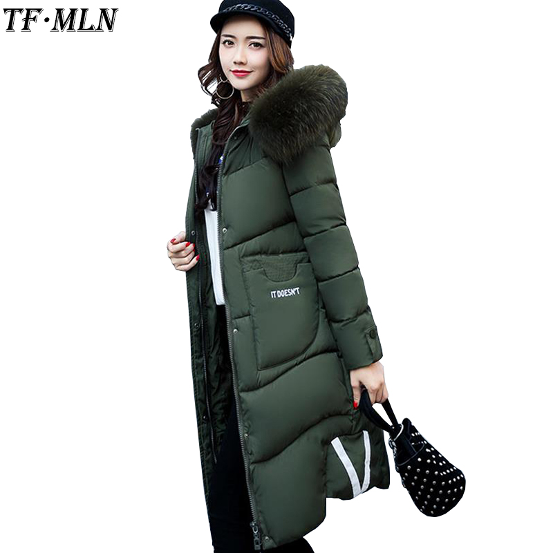 TFMLN 2017 Winter Jacket Women Wadded Jacket Female Outerwear Thick Hooded Coat Long Cotton Padded Fur Collar Parkas Plus Size free shipping embossing letters package europe fashion genuine leather single shoulder hand his female bag