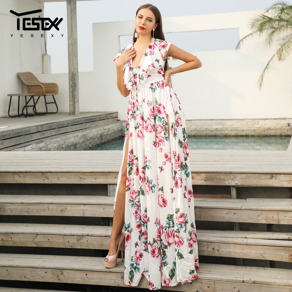 Yesexy 2020 Summer Bohemian Holiday Dress Deep V Neck Sleeveless Ruffle Flower Print Female Summer Dress VR18514