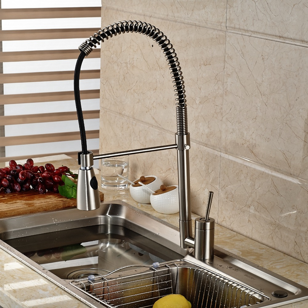 цена на Newly Pull-Out Sprayer 360 Degrees Brushed Nickle Kitchen Faucet Swivel Spout