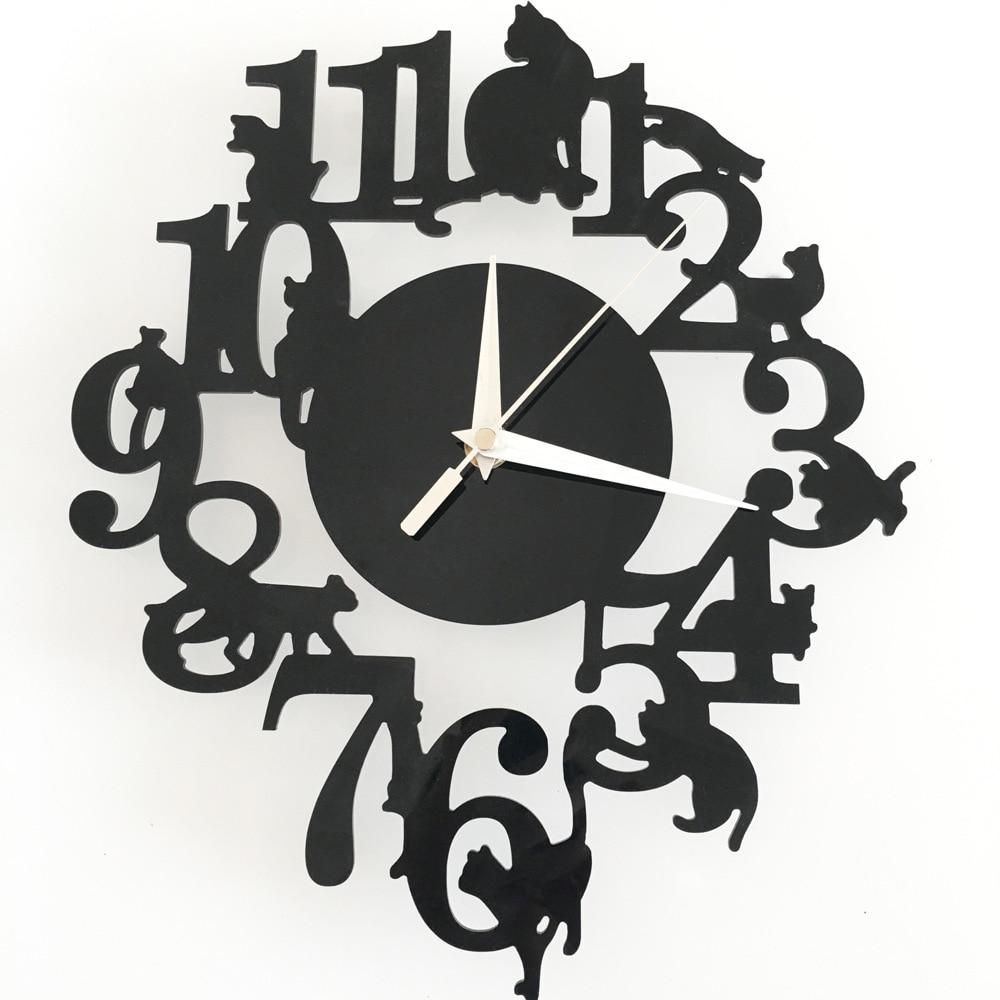 reloj de pared digital Hodiny Nástěnné Krásné Kreslené Černá Kočky Hodiny Akrylové Křišťálové Zrcadlo Nástěnné Hodiny Tání Hodiny Domácí Dekorace