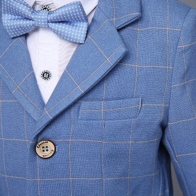 053c1638c1a09 2018 new fashion blue Plaid baby boys suit kids blazers boy suit for weddings  prom formal. sku: 32868875675