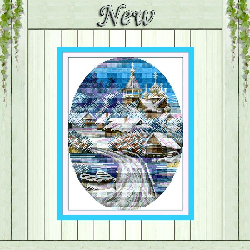 Snowscape, Europe house Vinterlandskap, telt Trykt på lerret DMC - Kunst, håndverk og sying