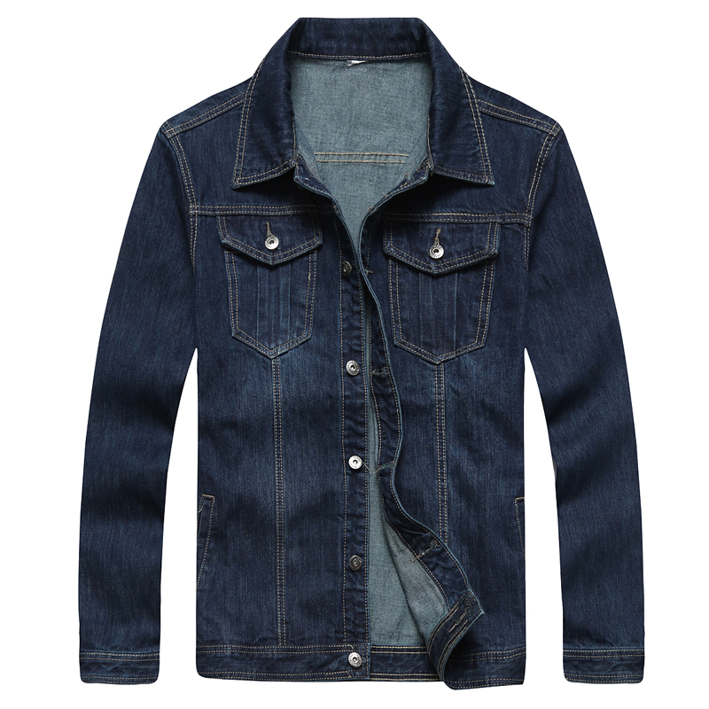 9XL 8XL 6XL 5XL 4XL mens denim jacket brand 100%cotton casual mens jean jacket dark blue solid coat male mens clothing fashion