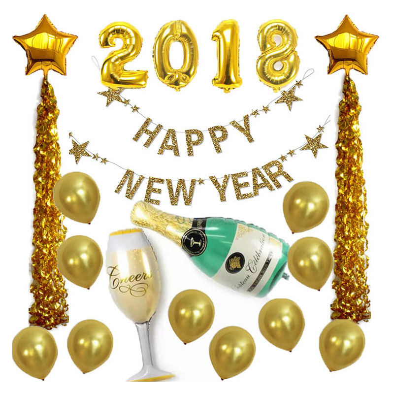 2018 New Style Aluminium Foil Helium Balloons New Year's ...