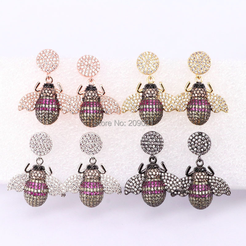 4Pairs New Design fashion Wholesale Insects earrings High quality Wholesale Dangle earrings colorful jewelry Earrings