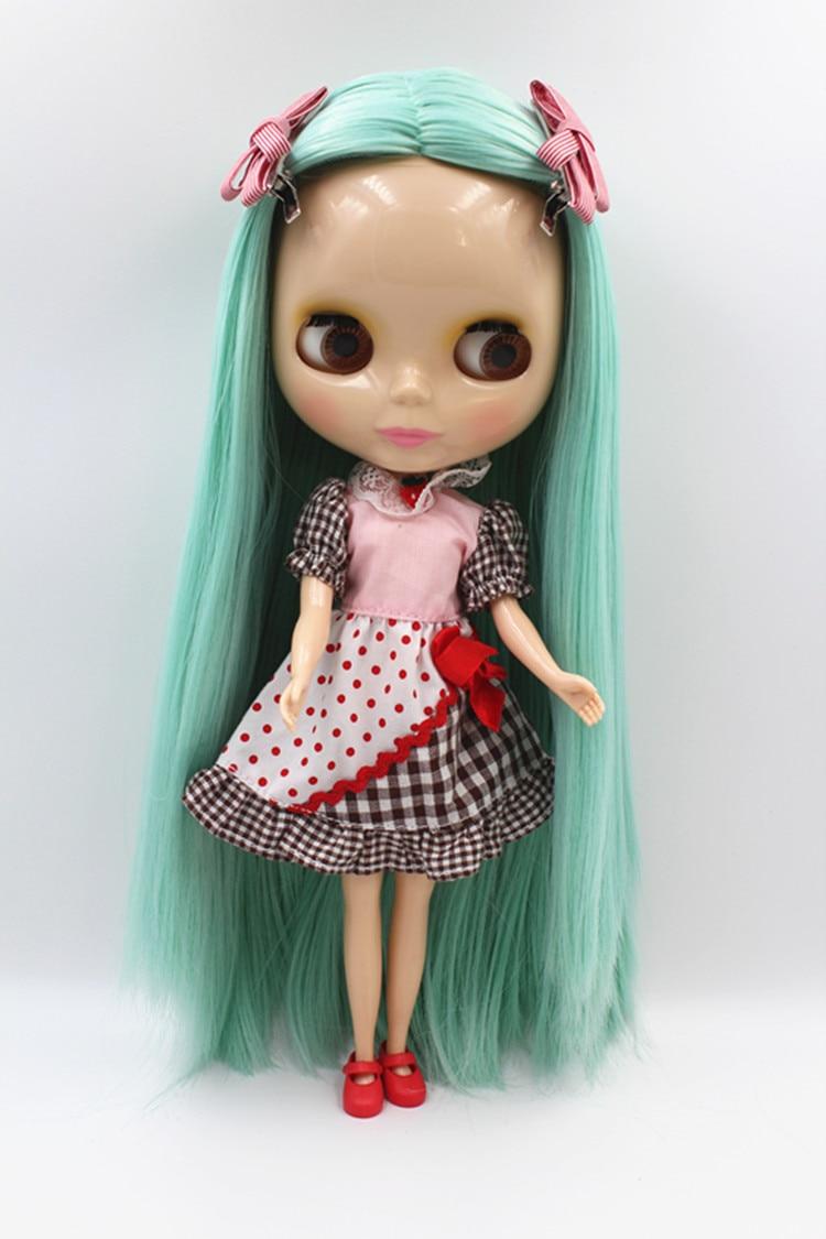 Blygirl lelle Gaiši zaļa taisni mati Blyth lelle vispārīgi ķermeņa savienojumi 7 30cm modes lelle Blyth lelle 1/6