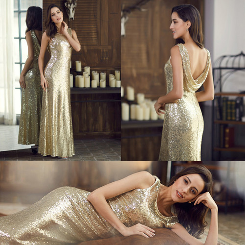 Image 3 - Long Sparkle Prom Dresses Ever Pretty 2019 New V Back Women Elegant XXDG01170PEC Sequin Mermaid Maxi Gold Evening Party Dresses-in Prom Dresses from Weddings & Events