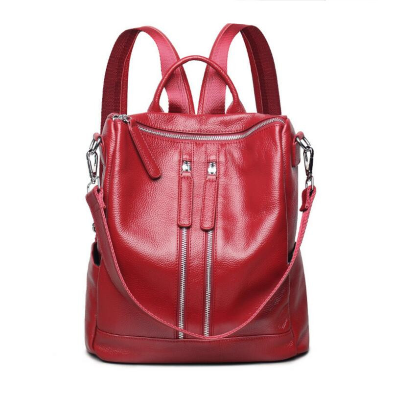 high quality red bag genuine leather backpack for girls school bags for teenagers women travel bags female real leather bagpack zhierna brand women bow backpacks pu leather backpack travel casual bags high quality girls school bag for teenagers