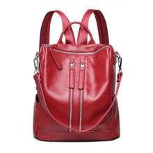 Высокое качество красная сумка из натуральной кожи рюкзак для девочек школьные сумки для подростков женщины дорожные сумки женские натуральная кожа bagpack