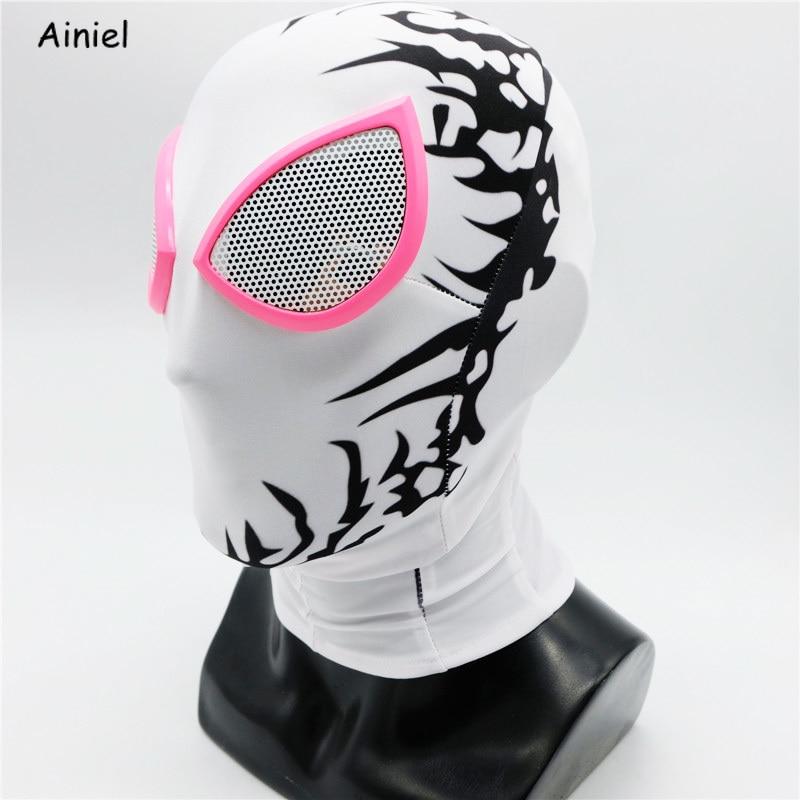 Ainiel  Spider Gwen Stacy Mask Cosplay  Marvel Gwen Mask Zentai Superhero Spider Man For Adult Women Kids Halloween Party