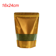 Free Fast Shipping 16x24cm Embossed Gold Food Bag Ziplock Mylar Package Aluminum Foil Pouch Bean Nut Packing Bags 500pcs/lot