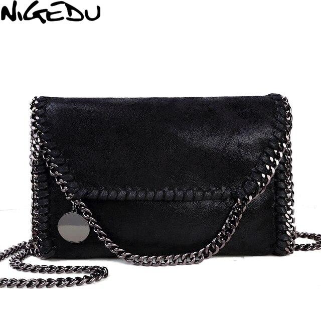 NIGEDU mode femmes conception chaîne détail croix corps sac dames sac à bandoulière pochette bolsa franja luxe sacs de soirée