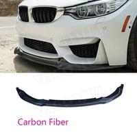For M3 M4 Carbon Fiber Car Front Bumper Lip Spoiler Decoration Trims for BMW 3 4 Serises F80 M3 F82 F83 M4 2014 2017 V Style